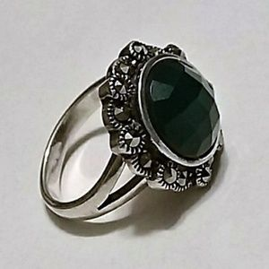 Chalcedony & Marcasite, Ring Silver .925 sz 6.50